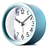 TXL 4 inch Round Silent Sweep Analog Alarm Clock Non Ticking, Gentle Wake, Beep Sounds, Increasing Volume, Battery Operated Snooze and Light Functions, Easy Set Desktop Clock, Sparkly Blue