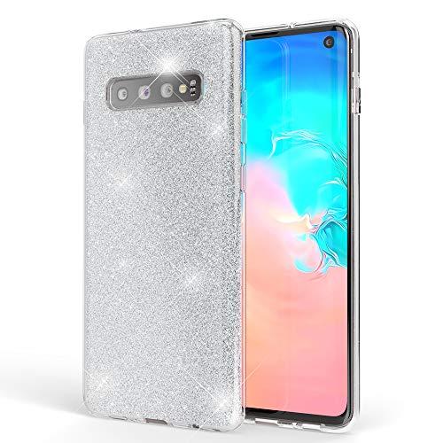 NALIA Hülle kompatibel mit Samsung Galaxy S10, Glitzer Handyhülle Ultra-Slim Silikon-Case Back-Cover Schutzhülle, Glitter Sparkle Handy-Tasche Bumper Dünnes Bling Strass Etui Schutz, Farbe:Silber