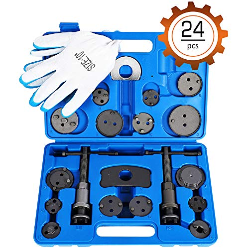 Orion Motor Tech 24-Piece Disc Brake Caliper Tool Kit, Front and Rear Brake Piston Compression Tool, Professional Automotive Mechanic Tool Set Change Rear Disc Brakes