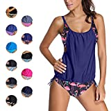EDOTON Conjuntos de Bikinis para Mujer, Rayas alineadas Doble Top Tankini Conjuntos Trajes de baño (2XL, Flamenco Azul)