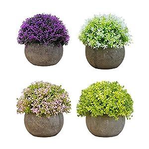 Plantas Artificiales Apariencia Realista Plantas Artificiales Decorativas En Maceta para Decoración del Hogar u Oficina Plantas Artificiales Exterior- 4 Pcs