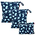 Damero 3Pcs Wet Dry Bag with 2 Zippered Pockets and Snap Handle for Cloth Diaper, Swimsuit, Clothes, Ideal for Travel, Exercise, Daycare, Roomy and Water-Resistant (Whale)