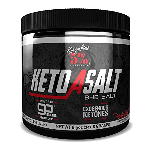 Rich Piana 5% Nutrition Keto aSALT BHB Salts, Exogenous Ketones Supplement Drink Powder, Stay in Ketosis, Improve Energy & Focus, Burn Stored Fat, 8.9 oz, 16 Servings (Cherry Limeade)