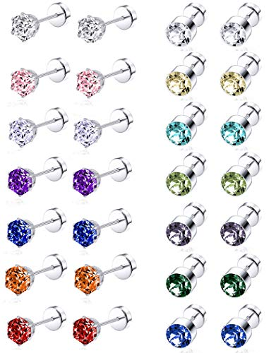 Tornito 14 Pairs Stainless Steel CZ Stud Earrings for Women Girls Multicolor Cubic Zirconia Cartilage Helix Earrings Set Screwback 4MM