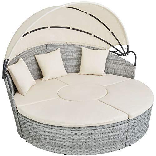 BJYX Alu Rattan Sonneninsel Sonnenliege Sitzgruppe Gartenlounge Gartenmöbel Lounge (Color : Hellgrau)