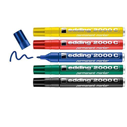 Edding 2000 C marcador permanente - rojo, azul, verde, amarillo, negro - juego de 5 - punta redonda - indeleble de secado rápido resistente al agua y a los borrones - cartón plástico madera metal