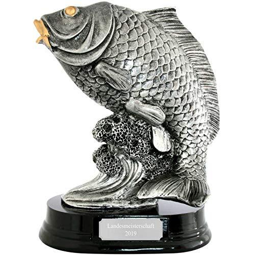 Angler Angeln Pokal Trophäe Fisch, Karpfen mit Sockel 23 cm hoch mit Gravur