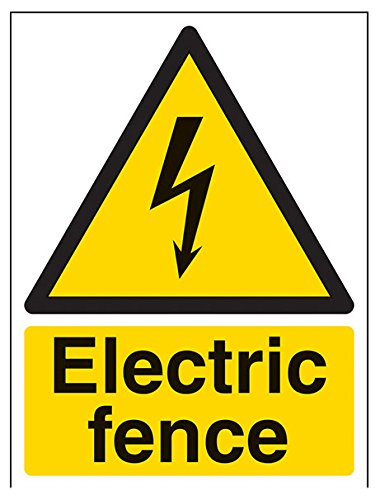 VSafety Elektrische hek waarschuwingsbord - 150mm x 200mm - Zelfklevende Vinyl