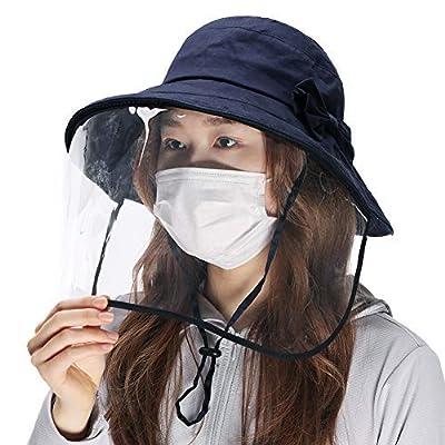 Comhats Summer Beach Bucket Hat for Women Sun UV Protection Shield Wide Brim Gardening Packable Detachable Medium Navy