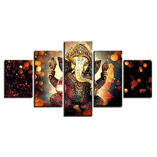 SXRE Cuadro Moderno en Lienzo Dios Hindú Ganesha Estatua De Buda Indio Moderno Pintura De La Lona, Una Pintura De Dios Hindú Auspiciosa para Cada Hogar/Oficina Y Propósito De Regalo