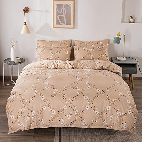 Set copripiumino in 3 pezzi con stampa floreale Set biancheria da letto dell'hotel Trapunta include 1 piumino 2 federe per letto queen/king (1 federa per letto matrimoniale) Queen Beige