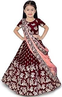 Craqline Fashion Girl'sTafetta Silk Semi-stitched Lehenga Choli and dupatta set (9-13) Year Baby Girls Free Size