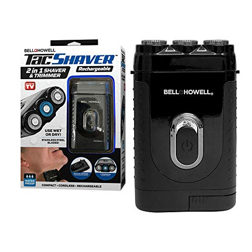 Tacshaver by Bell+Howell Moustache and Beard Rotary Shaver with Pop-up Trimmer for Sharper Moustache and Sideburn Edges Seen On TV (Deluxe-Rechargeable)