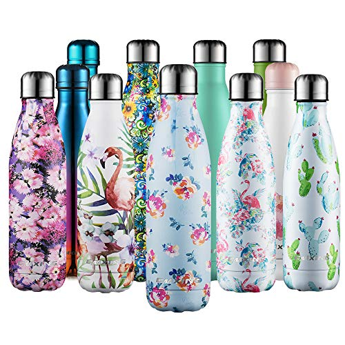 cmxing Doppelwandige Thermosflasche 500 mL / 750 mL mit Tasche BPA-Frei Edelstahl Trinkflasche Vakuum Isolierflasche (Blau Blume, 500 mL)