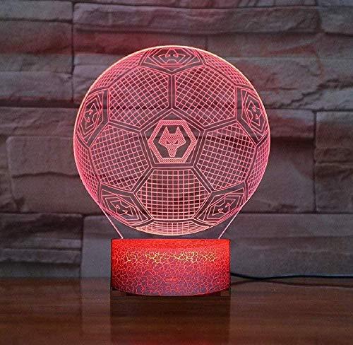 Luz de Noche con ilusión 3D Wolverhampton Wanderers F C Luz Ambiental Inteligente de 7 Colores Base de Grietas Lámpara de Mesa LED Cumpleaños para niños Regalo para fanáticos del fútbol