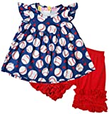 Boutique Little Girls Game Day Love Baseball Ruffles Top Shorts Outfit 8/4XL