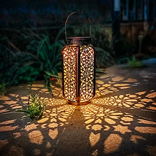 WONDHOME Solar Lantern Outdoor Retro Metal Solar Lights with Handle,Crafted Garden Waterproof Decor Warm Light Landscape Lighting Red Gold