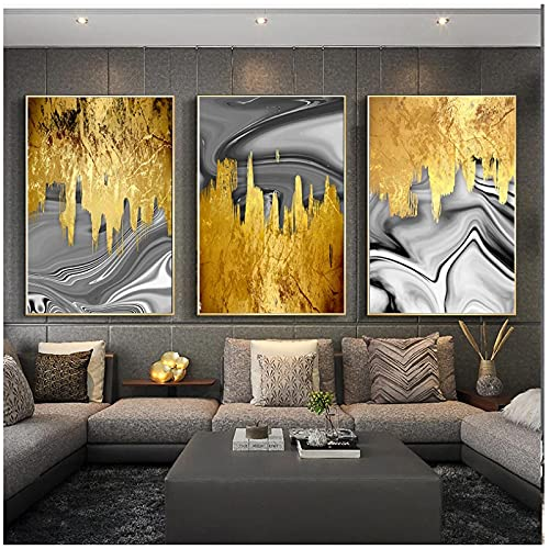 Cuadros de Pared 50x70cm 3 Piezas SIN Marco Nordic Modern Gold Foil Grey Liquid Canvas Painting Poster Print Wall Art Picture para Sala de Estar Decorativo para el hogar