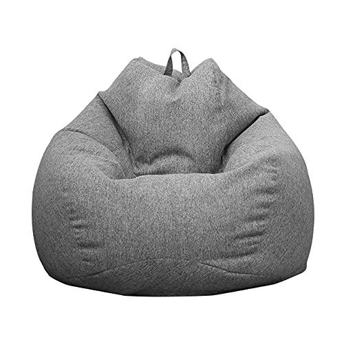 Puf de pera para adultos y niños, diseño clásico, puf de pera para interior y exterior, puf sin relleno, grande, funda puf de pera, color gris oscuro