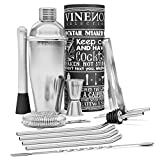 Shaker Cocktail Set Professionale + eBook di Ricette | Kit Barman Completo, Acciaio di qualità Premium | Aperitivo Accessori per Mojito Martini Gin Tonic Long Drink | Regalo Donna Uomo, Bar Party