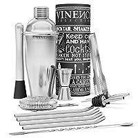 shaker cocktail set professionale + ebook di ricette | kit barman completo, acciaio di qualità premium | aperitivo accessori per mojito martini gin tonic long drink | regalo donna uomo, bar party