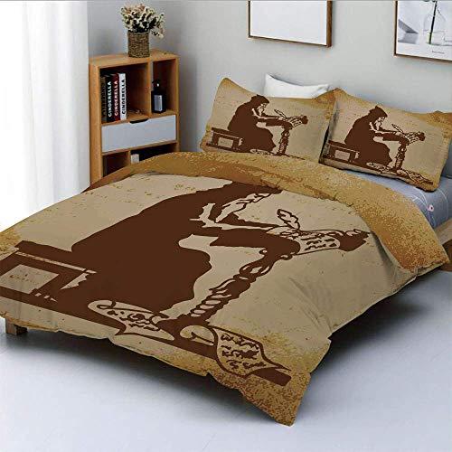 Juego de funda nórdica, Old Monk escribiendo una corónica de eventos Ilustración del pasado Juego de cama decorativo de 3 piezas con estampado de estilo retro con 2 fundas de almohada, marrón crema, e