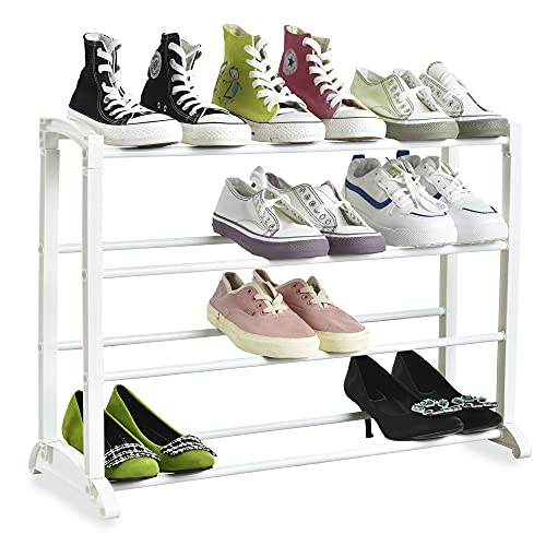Nyxi 4 Tier Shoe Rack Extendable & Stackable, Quick Assembly No Tools Required - Holds 12 Pairs - (L) 65cm x (W) 16.5cm x (H) 50cm (White)
