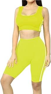 Women's Tank Crop top Short Pants Two Pieces Outfit Casual Sport Set
