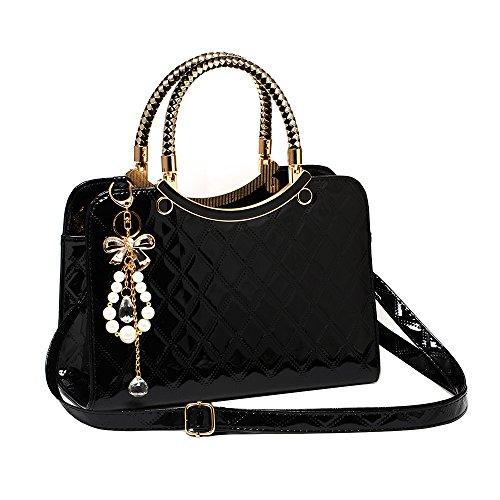 Handtasche Damen Modern Fashion Schultertasche Geldbörse PU Leder Schwarz