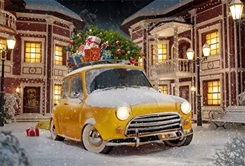 YongFoto 3x2m foto achtergrond Kerstmis oude auto geschenken doos grenen takken sterke sneeuwval gebouw huis winter nacht fotografie achtergrond foto portretparty kinderen bruiloft fotostudio