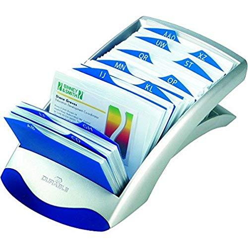 Durable 241323 Visitenkartenkasten Visifix Desk Vegas, für 200 Karten, inkl. Register A-Z, silber