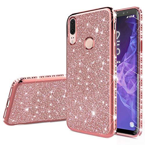 Nadoli Bling Custodia per Huawei P20 Lite,Lusso Ultra Sottile Glitter Skin Morbido Diamante Placcatura Telaio Brillante Silicone Protettiva Case Cover per Huawei P20 Lite