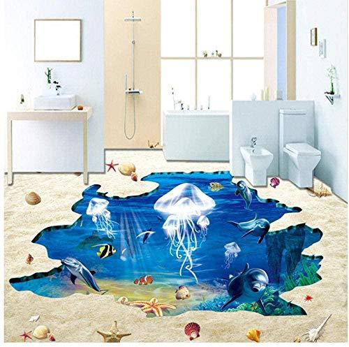 3D Boden Aufkleber Wandbild Tapete Unterwasser Strand Quallen 3D Aufkleber-200 * 140cm