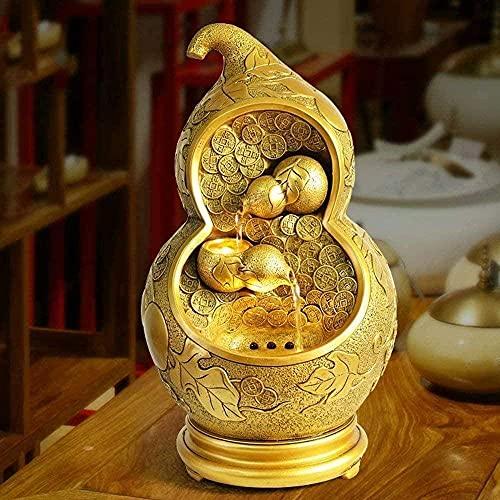 LXHJZ Fuente jardín Polyresin Wealth Gourd Fuente Agua Interior Resina Feng Shui Adornos para Oficina Fuentes Interiores Sala Estar Dormitorio