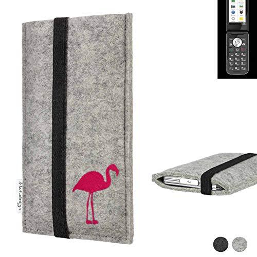 Flat.designHandy Hülle Coimbra für Emporia TOUCHsmart Made in Germany Handytasche Filz Tasche Hülle fair Flamingo pink