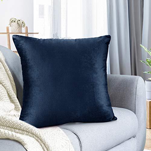 Nestl Bedding Solid Microfiber Velvet 24' x 24' Throw Pillow Cover, Navy Blue