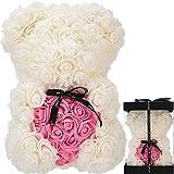 Oso de Rosas Flores Artificiales Peluche Oso - Regalos Originales para Mujer Regalo Mujer Novias Regalo Madres Regalos Mujeres Rosas Artificiales Aniversario cumpleaños de San Valentín (Blanco)