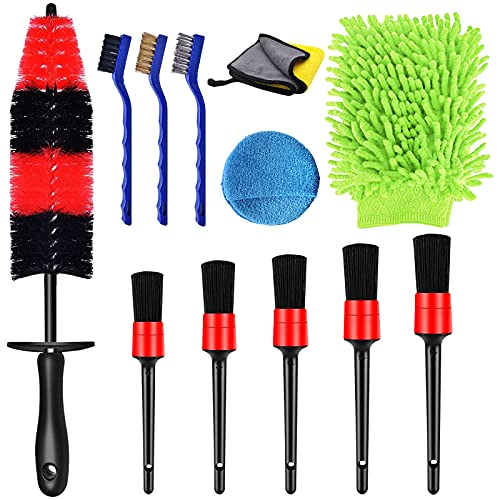 YLMKDE 12 Pcs Car Detailing Brushes Sets Tire Brush Set, Wash Detail Wheel Brush Kit for Cleaning Dirt Without Scratch to Car Wheels & Interior Exterior