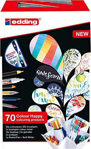 Edding Colour Happy Big Box - juego grande de 70 - rotuladores punta de pincel, bolígrafo tinta liquida, marcador pastel, mezclador colores graduales - dibujar, pintar, caligrafía, diarios de viñetas