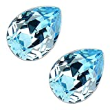 GWG Jewellery Pendientes Mujer Regalo Pendientes, Chapados en Plata de Ley Cristal Brillante Gota de Agua de Color Aguamarina Agua Marino para Mujeres