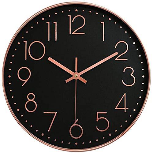 Tiamu Quartz Lautlos Wanduhr, Wanduhr Kinderuhr für Wohnen Zimmer/Schlaf Zimmer Dekor Runde Moderne Atomic Mute Wand Uhr 12 Zoll