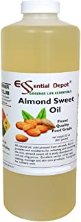 Almond Sweet Oil - 1 Quart - 32 oz - safety sealed HDPE container with resealable cap - 100% Pure and Natural for Hair, Sk...