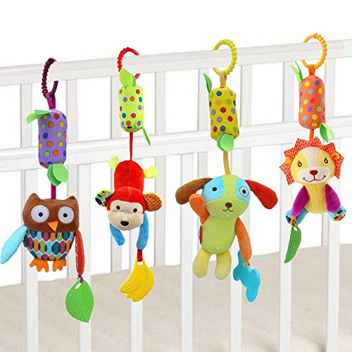 FOREAST Baby Rattles Toys with Teether, 4 PCS Set Infants Soft Plush Stroller Toys,Newborn Crib Car Bed Hanging Bells Birthday Gifts for 0, 3, 6, 9, 12, 24 Months Boys Girls