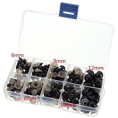 Chengyida 100 pcs Kits de yeux de sécurité 6/8/9/10/12 mm tout dans une boîte pour aiguilles de feutrage Ours Poupées Decys Couture (20pcs par taille) (Noir)