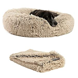 "Best Friends by Sheri Bundle Savings – The Original Calming Shag Donut Cuddler Dog Bed in Medium 30″"" x 30″"" and Pet Throw Blanket in 30″"" x 40″"", Taupe. (BND-DBT-SHG-TAU-30SM)"