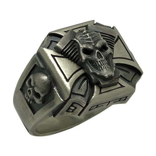 UNIQABLE Gothic 925 Sterling Silver V Shape Engine Skull Biker Harley Ring Handmade Rustic Finish Men's SKUL11 (11)