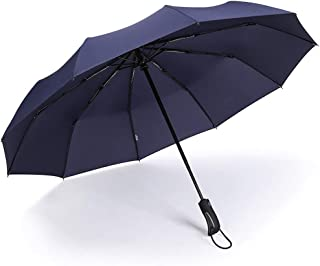 YQRYP Automatic Umbrella Men and Women Large Double Three Folds Open Reinforcement Windproof Umbrella and Rain Umbrella Windproof Umbrella, Golf Umbrella (Color : Blue)