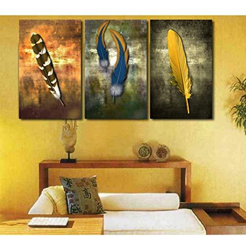 GHTAWXJ 3 paneel Wall Art Picture Home Decoration Living Room Feathers Canvas Print Muur Bedrukken Op Doek