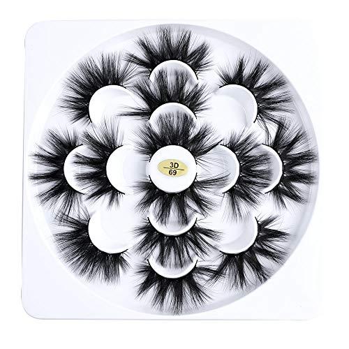 Pairs Werkzeuge zum Einbinden Dick lang Handarbeit Grausamkeitsfrei Falsche Augenbrauen Erweiterung der Augenlast Kreuz -Kreuz 3D Mink Hair(7 Pairs)