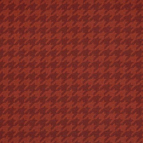 Tela para muebles de tela ignífuga LANA SHETLAND rojo Pepitamuster como tela de tapicería resistente para coser y relacionar, lana virgen, poliamida, aislamiento acústico, oscurecimiento